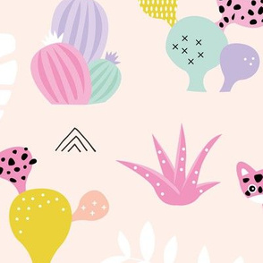 Colorful kawaii jungle leaves leopard wild animals and cactus garden baby girls pink lilac JUMBO