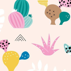 Colorful kawaii jungle leaves leopard wild animals and cactus garden baby girls blue JUMBO