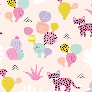 Colorful kawaii jungle leaves leopard wild animals and cactus garden baby girls pink lilac