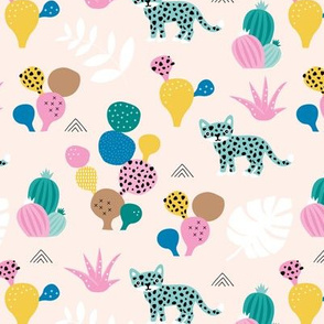 Colorful kawaii jungle leaves leopard wild animals and cactus garden baby girls blue