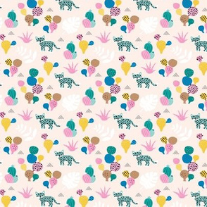 Colorful kawaii jungle leaves leopard wild animals and cactus garden baby girls blue mint  SMALL