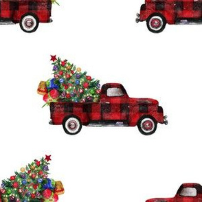 "6"" Vintage Woodland Red Truck and Christmas Tree // White"