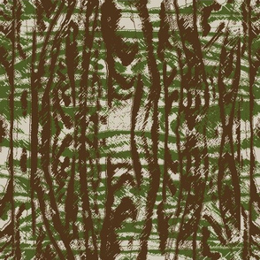 Flowing Totem #3 Olive & Brown on Taupe