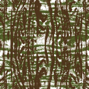 Flowing Totem #3 Olive & Brown on White
