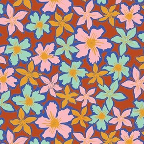 Colorful flowers brown mint pink