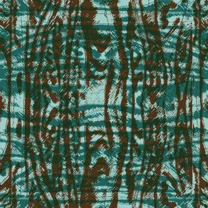 Flowing Totem #3 Teal & Brown on Aqua