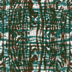 Flowing Totem #3 Teal & Brown on White