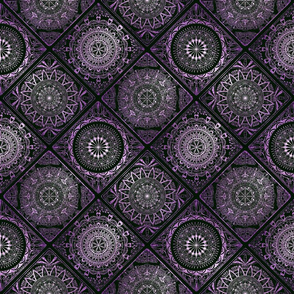 Purple glitter and black tiles