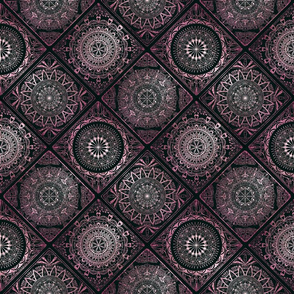Pink glitter and black tiles