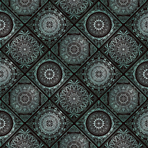 Aqua glitter and black tiles