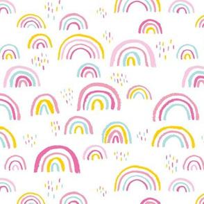 Rainbow love Scandinavian abstract rainbow clouds happy kawaii rain sky girls pink yellow mint JUMBO