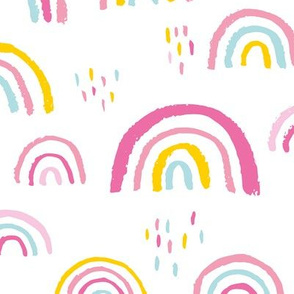 Rainbow love Scandinavian abstract rainbow clouds happy kawaii rain sky girls pink yellow mint JUMBO