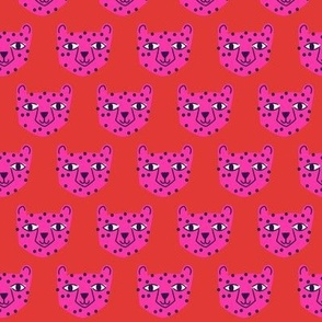 Small - cheetah bright pink on red