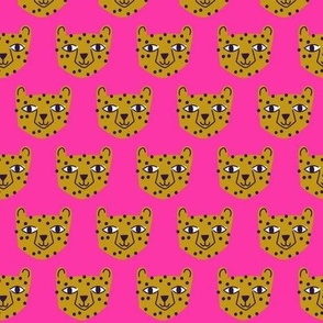 Small - cheetah mustard on bright pink