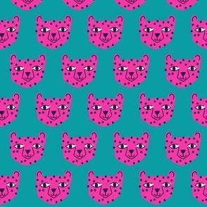 Small - cheetah bright pink on blue