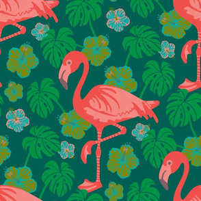 Pink Flamingo Monstera Hibiscus Fuchsia Green Blue Tropical UnBlink Studio Jackie Tahara
