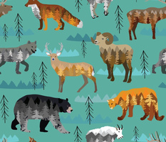 Mountain animal paint by number