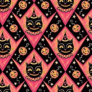 Pink Grinning Black Cats & Jacks