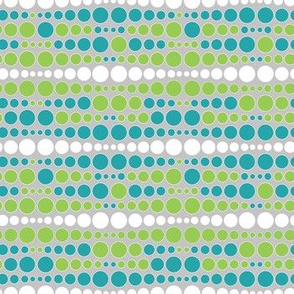 Colorful uneven bars of dots green, blue
