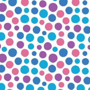 Pink blue irregular bold paint brush polka dots