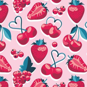 Small scale // Cherries, berries and strawberries // pink background red fruits