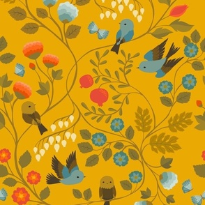 Fruit Birds Chinoiserie {Gold}