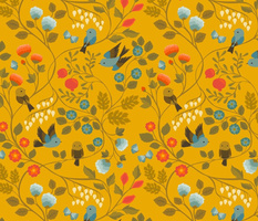 Fruit Birds Chinoiserie {Gold}