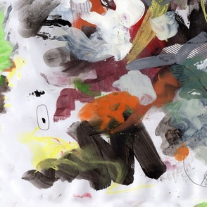White on light blue abstract mark making