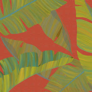Large Banana Leaves red texture