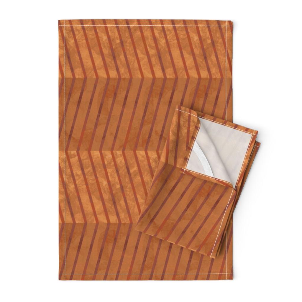 Orpington Tea Towels featuring herringbone_cinnamon_rust by wren_leyland