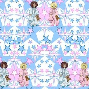 Baby Nicky Girl and Boy With Stars Fabric