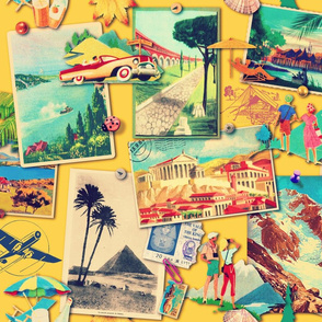 The Wall of retro Postcards (yellow)