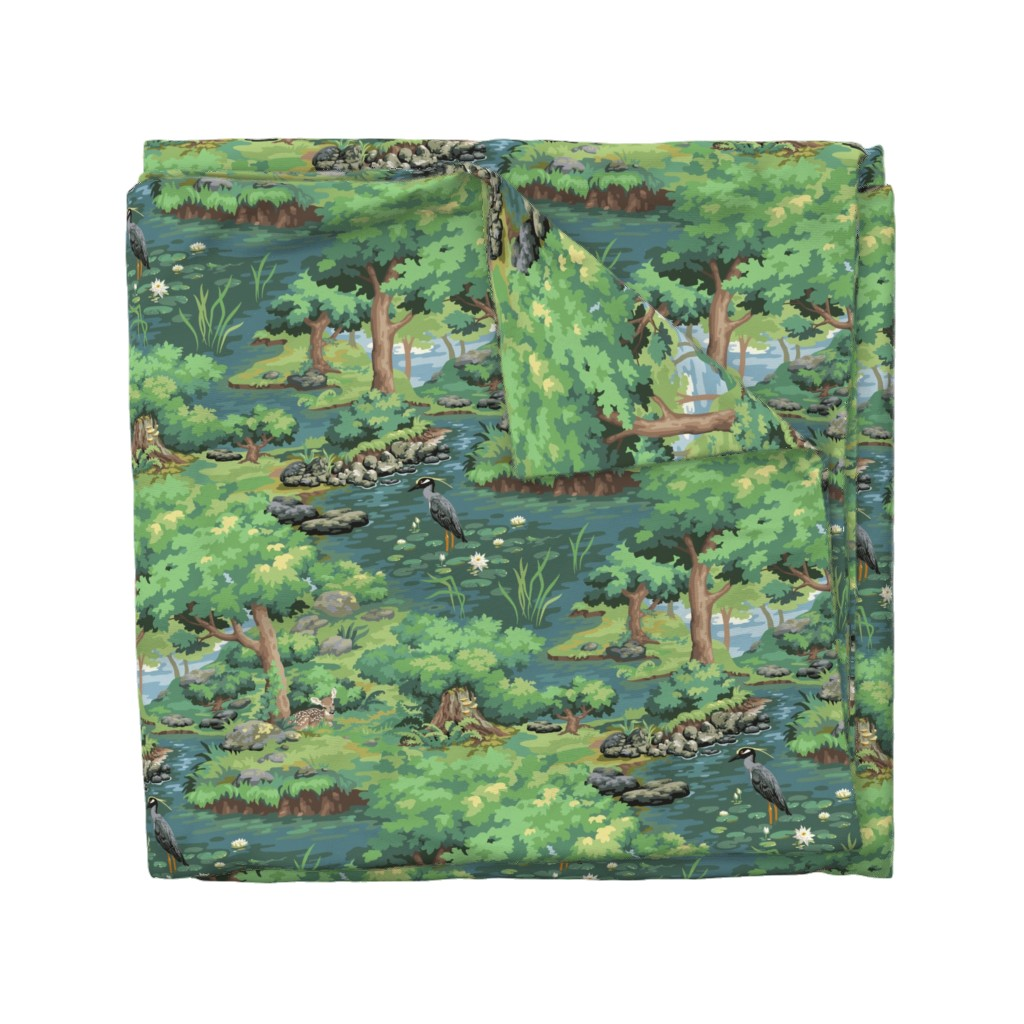 Wyandotte Duvet Cover featuring Heron Woods - a Sylvan Paint by Number by hootenannit