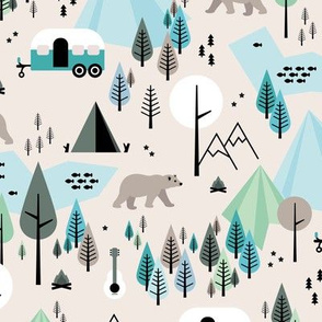 Summer camping grizzly bear in the woods and caravan happy camper mountains wilderness boys blue