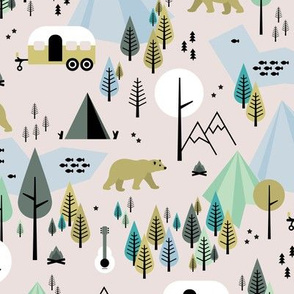 Summer camping grizzly bear in the woods and caravan happy camper mountains wilderness winter ochre boys
