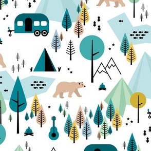 Summer camping grizzly bear in the woods and caravan happy camper mountains wilderness white boys blue green