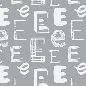 Letter E Grey and Light Grey