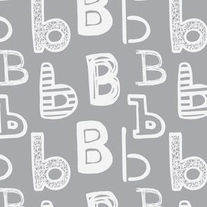 Letter B Medium Grey and Light Grey