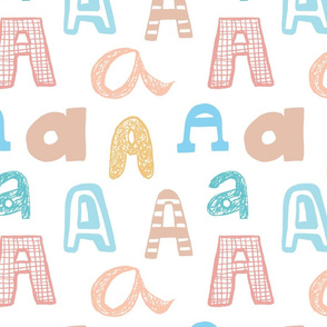 Letter A  Pastels - Tan, Yellow, Peach, Pink, Blue