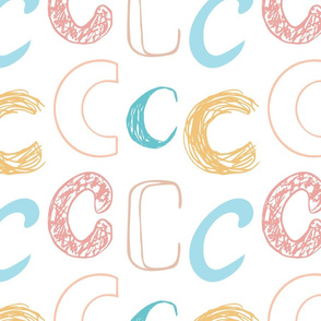 Letter C Pastels -  Tan, Yellow, Peach, Pink, Blue
