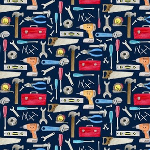 SMALL- Tools (navy) red orange blue, Kids Room Bedding