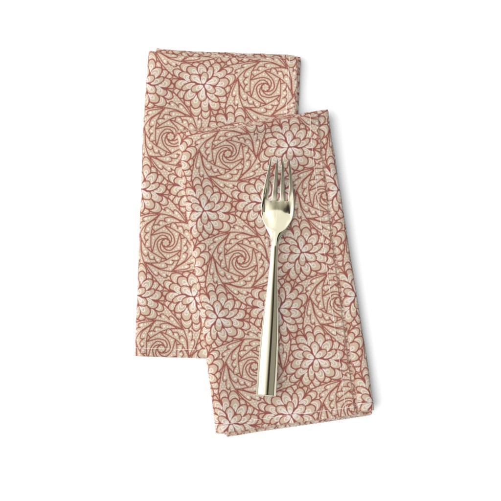 Amarela Dinner Napkins featuring Flowing Rosette - Brown by siya