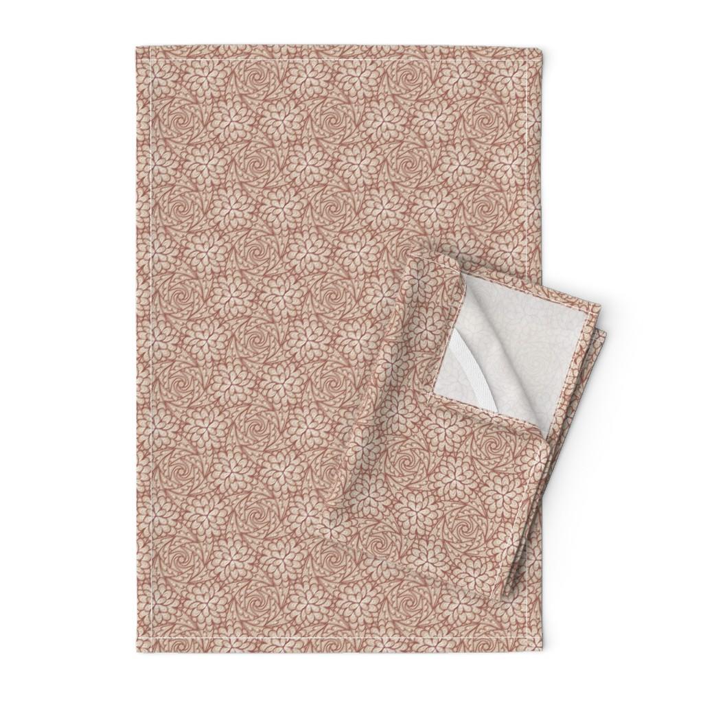 Orpington Tea Towels featuring Flowing Rosette - Brown by siya