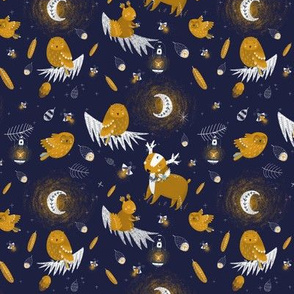 "10"" Sleep well little child - darkblue starry sky with animals"