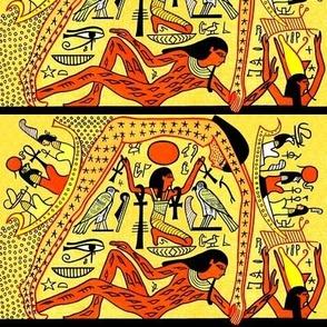 ancient egypt egyptian gods goddesses hieroglyphics world creation beginning Nut mother sky Seb husband wife earth Shu Wind Air eye horus Ankh stars Maat heaven boats yellow orange tribal birds falcon pharaoh kings crown