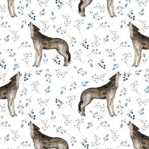 """12""""  Boho Howling Wolf fabric, blue flowers boho fabric"""