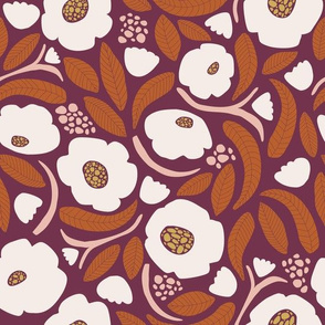 Moody Floral orange and plum