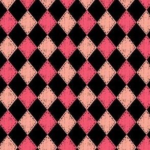 Pink and Black Checker Diamond