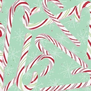 Large candy cane christmas snowflake mint green
