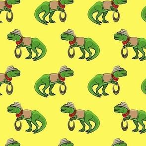 Cowboy Tyrannosaurus rex - Trex dinosaur - yellow - LAD19